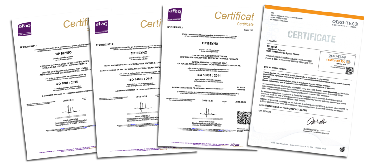 Certifications ISO et OEKO-TEX